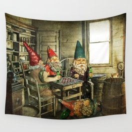 Garden Gnomes Playing Checkers Wall Tapestry
