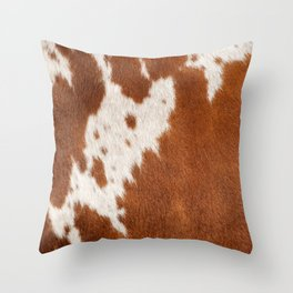 Cowhide, Cow Skin Print Pattern Throw Pillow
