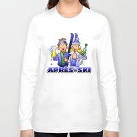 ski Long Sleeve T-shirts featuring Après-ski by Cardvibes.com - Tekenaartje.nl