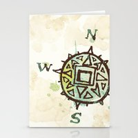 compass Stationery Cards featuring compass by JesseRayus