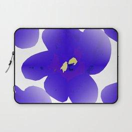 Large Retro Blue Flowers #1 White Background #decor #society6 #buyart Laptop Sleeve