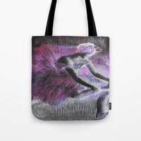 degas Tote Bags featuring ballerina pink & black by PureVintageLove