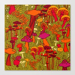 Mushrooms in the Forest Canvas Print