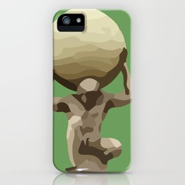 Man with Big Ball Illustration green iPhone Case