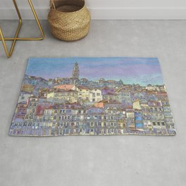 Oporto, the Ribeira district in pastel colours Rug