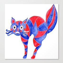Watercolor Art | Scaredy Cat Canvas Print