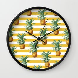 Pineapples Yellow Stripes Chic Beach Wall Clock