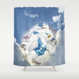 Well-To-Do Gentleman Goose Shower Curtain
