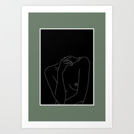 Nude figure line drawing illustration - Cecily Green Border Art Print