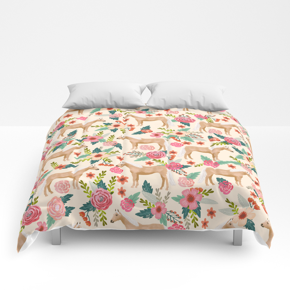 Palomino Horse Floral Farm Nature Animal Horse Lov… Comforter by Farmfriendly CMF8548696