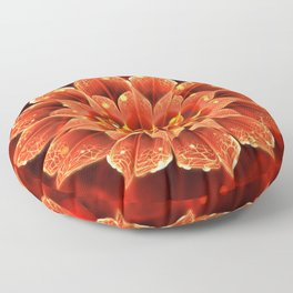 Red Dahlia Fractal Flower with Beautiful Bokeh (Vivid Crimson) Floor Pillow