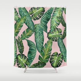 Jungle Leaves, Banana, Monstera II Pink #society6 Shower Curtain