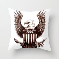 politics Throw Pillows featuring Politics of Blood by Gray Spear Society