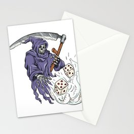 Grim Reaper Throwing the Dice Drawing Color Stationery Cards