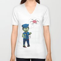 police V-neck T-shirts featuring Zombie Police by Jelo