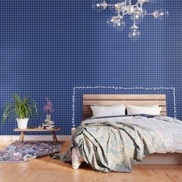 Dark cornflower blue - blue color - White Lines Grid Pattern Wallpaper