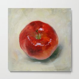 Red Apple - Still Life Oil Painting Metal Print