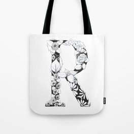 Floral Pen and Ink Letter R Tote Bag