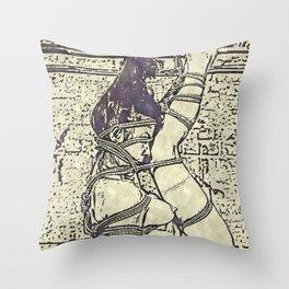 Ink and watercolor - Shibari slave girl, BDSM erotic Throw Pillow