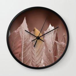 Autumn Leaves - Black & White Wall Clock