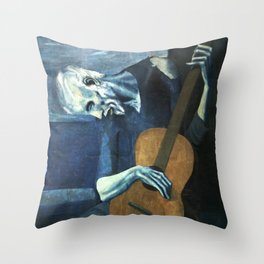 The Old Guitarist - Picasso Throw Pillow