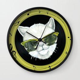 Rockstar cat on vinyl Wall Clock