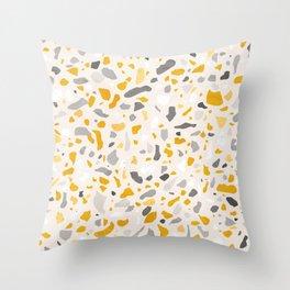 Terrazzo memphis vintage mustard yellow white grey black Throw Pillow
