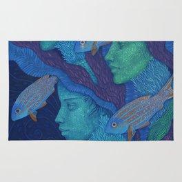 The Waiting, underwater fantasy, girls & fish Rug