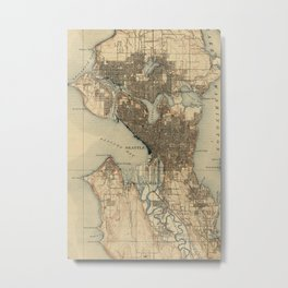 Vintage Map of Seattle Washington (1908) 2 Metal Print