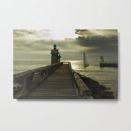 Lighthouse and sailboat Metal Print