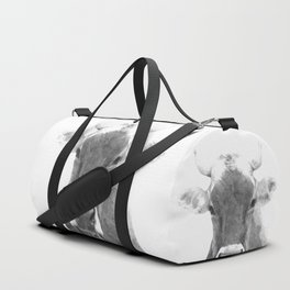 Cow black and white animal portrait Duffle Bag