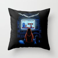 8bit Throw Pillows featuring 8bit Who by Bamboota