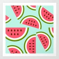 watermelon Art Prints featuring Watermelon by Cute Cute Cute