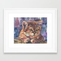 meow Framed Art Prints featuring Meow by Emma Reznikova