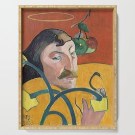 Self-Portrait with Halo and Snake by Paul Gauguin Serving Tray