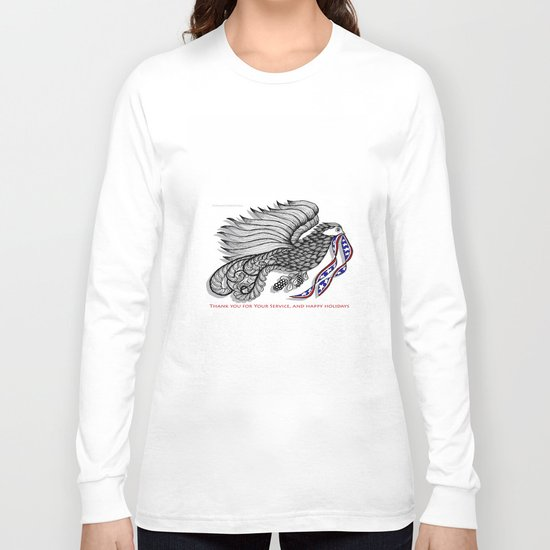 Veterans Happy Holiday and Thank You for Your Service - Zentangle Illustration Long Sleeve T-shirt