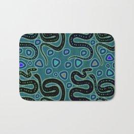 Snake Totem Seamless Blue Tapas Design Bath Mat