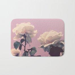 Vintage Spring Pearl White Roses Lavender Sky Bath Mat