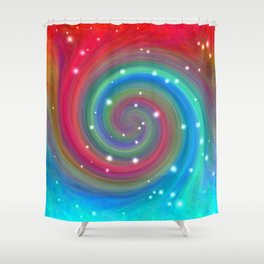 Colored Swirl in the Sky Shower Curtain