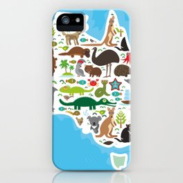 map of Australia. Echidna Platypus ostrich Emu Tasmanian devil Cockatoo parrot Wombat snake turtle iPhone Case