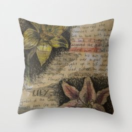 Daffodil collage Throw Pillow