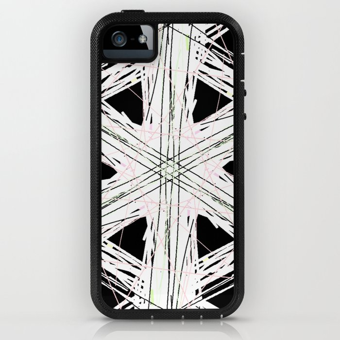Black & white rattan pattern w/ peekaboo pink and green strings iPhone Case