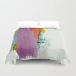Aly: a colorful, minimal, abstract piece in bold purple, blue, orange, and yellow Duvet Cover