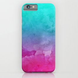 Modern bright summer turquoise pink watercolor ombre hand painted background iPhone Case