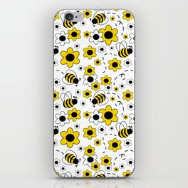 Honey Bumble Bee Yellow Floral Pattern iPhone Skin