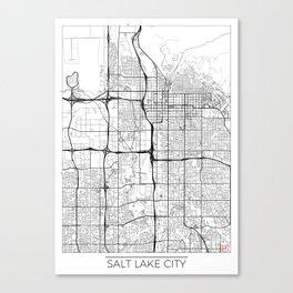 Salt Lake City Map White Canvas Print