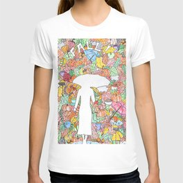 Woman in autumn T-shirt