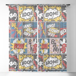 Modern Comic Book Superhero Pattern Color Colour Cartoon Lichtenstein Pop Art Sheer Curtain