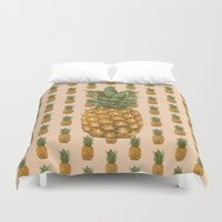 pineapples Duvet Covers featuring Pineapples by Brocoli ArtPrint