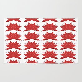 Red lotuses on white Rug